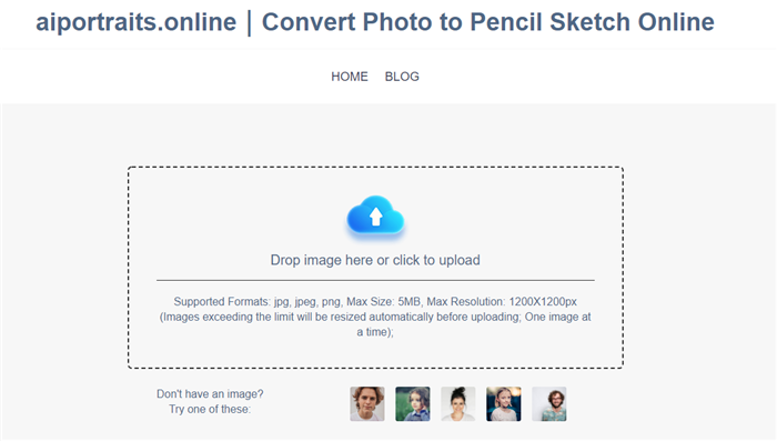 aiportraits-online-upload-page